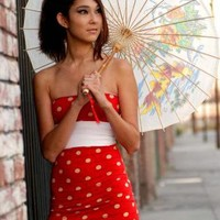 Strapless Red Polka Dot Dress, Party Dress
