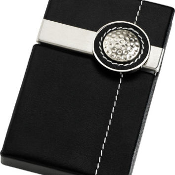 Flite Aluminum Faux Leather Golf Ball Business Card Case