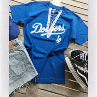 DODGERS LACE UP TEE- BLUE