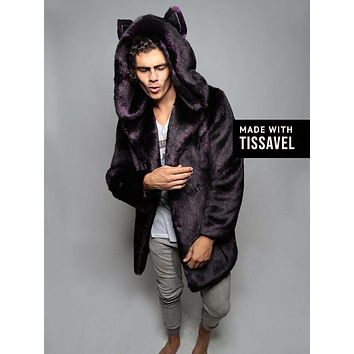Classic Midnight Wolf Luxe Faux Fur Coat