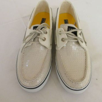 Sperry Top-Sider Bahama White Sequins Boat Loafers Beige/Off White Women's 10 M