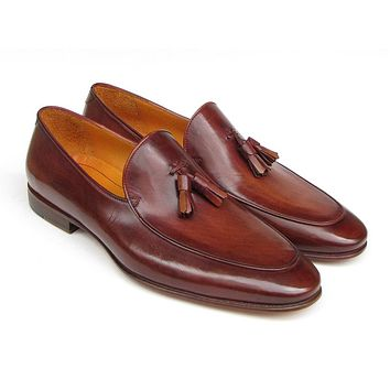 Paul Parkman Men's Tassel Loafer Brown Hand Painted Leather (Id#049)