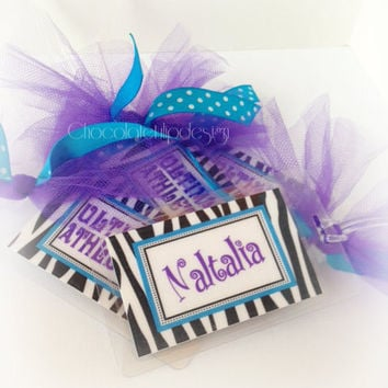 Personalized Custom Black and White Zebra Turquoise Polka Dot POM or CHEER School Spirit Luggage Bag Tag by Chocolatetulipdesign