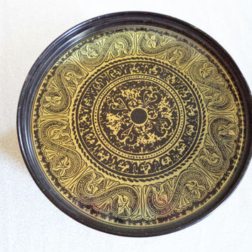 Black and gold tin/ vintage black and gold round tin box with legs/ black with gold filigree bohemian decor box