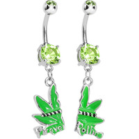 Green Gem Forever Rollin Best Buds Dangle Belly Ring Set