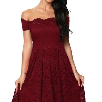 Chic Scalloped Off Shoulder Flare Plus Size Burgundy Lace Dress