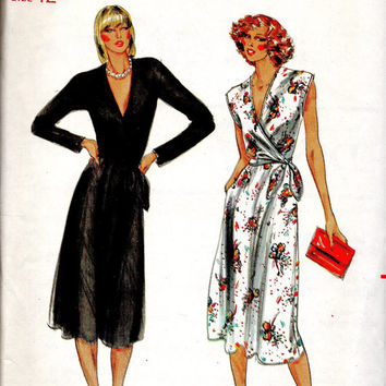 Classic Style Wrap Dress Butterick 6917 Sewing Pattern Deep V Neckline Tie Waist Long Sleeve Sexy Fashion Uncut FF Bust 34