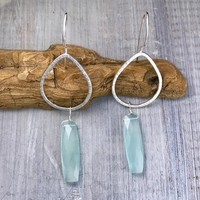 Faceted Chalcedony Lotus Petal Earrings