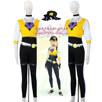 Pocket Monsters Game  Go female Trainer Avatar Anime Cosplay Costume with hat and glovesKawaii Pokemon go  AT_89_9