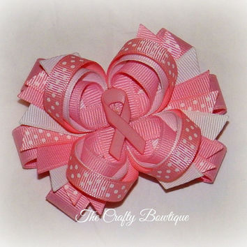 Pink Ribbon ~ Layered Hair Bow with Spikes ~ Pink and White ~ Polka Dot Bow ~ Breast Cancer Bow ~ Big Hair Bow ~ Pink Ribbon Bow