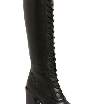 Steve Madden 'Nidea' Lace-Up Knee High Boot (Women) | Nordstrom