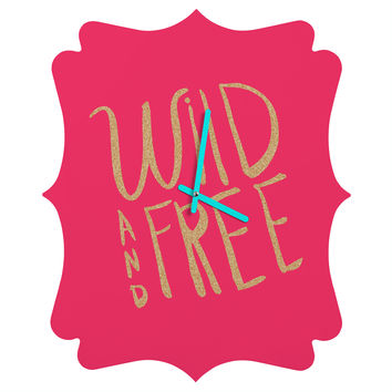 Allyson Johnson Wild and free glitter Quatrefoil Clock