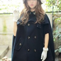 Stars Pattern Cashmere Wholesale Coats Deep Blue : Wholesaleclothing4u.com