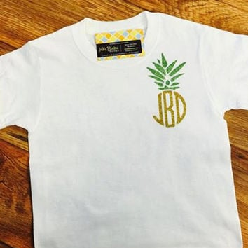 Southern Pineapple Monogrammed Sparkle Tshirt, shirt