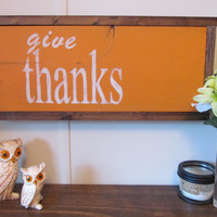 "Fall Themed Wood Sign ""Give Thanks"""