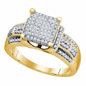 10kt Yellow Gold Women's Round Diamond Square Cluster Bridal Wedding Engagement Ring 3-8 Cttw - FREE Shipping (USA/CAN)