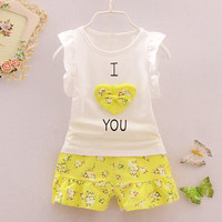 Sleeveless Children Vest +Flower Pants Clothes Set