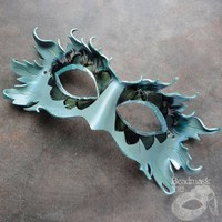 Leather Mask - Azure Blue Elf Or Forest Spirit | beadmask - Clothing on ArtFire