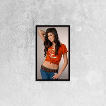 "Texas Longhorns: ""The Beautiful Longhorn"" Canvas Print Wall Art on Black Vertical Frame Ready to Hang; 12""x20"""
