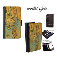 Middle Earth Map wallet case for iphone 4 4s 5 5s 5c 6 plus Galaxy S3 S4 S5 Note 3 Note 4