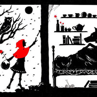 Little Red Riding Hood and the Wolf greetings card