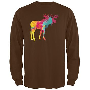 Splatter Moose Brown Adult Long Sleeve T-Shirt