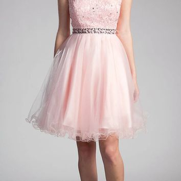 Blush Cap Sleeved Homecoming Short Dress with Appliqued Bodice