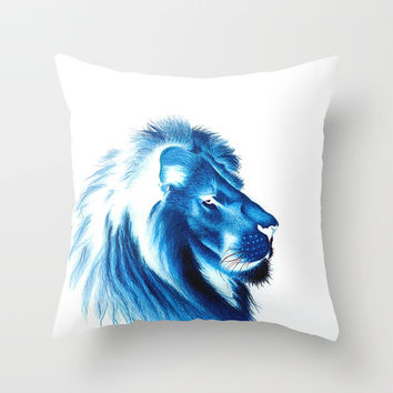 King Lion of Blue Throw Pillow by Yilan Lillyan Wang
