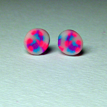 Neon Pink Studs Titanium Post Earrings Hot Pink by BrandonArtists