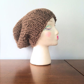 "Womens Chunky Beanie ""Mika"" - Women's Slouchy Beanie - Knit Toque - Brown Slouch Hat - Chunky Knit Beanie - Girls Winter Hat - Grunge Beanie"