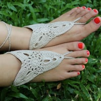 Handmade Knitting Patchwork Hollow Out Lace Anklet Bracelet Crochet Barefoot Sandals Foot Jewelry Accessory Gift-18