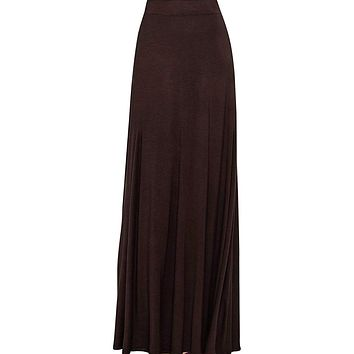 Women's Brown Maxi Skirt With Fringes