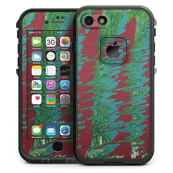 Abstract Wet Paint Mint Green to Red - iPhone 7 LifeProof Fre Case Skin Kit