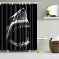 Shark Black Shower Curtain