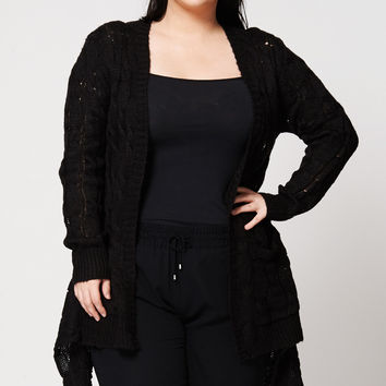 Open Front Cable Knit Waterfall Cardigan Available in Plus Sizes