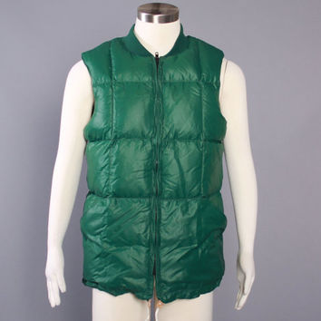 80s Green PUFFY DOWN VEST / 1980s Goose Down Puffer Vest