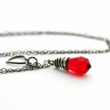 Red Swarovski Necklace Sterling Silver Heart Charm Necklace Siam Swarovski Crystal Pendant Antique Silver Jewelry January Birthstone