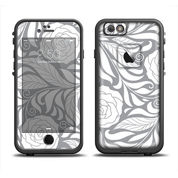 The Gray Floral Pattern V3 Apple iPhone 6 LifeProof Fre Case Skin Set