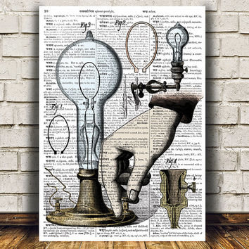 Lamp decor Vintage poster Antique print Steampunk print RTA729