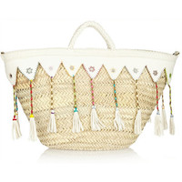 Finds + En Shalla embellished raffia and leather tote, Women's
