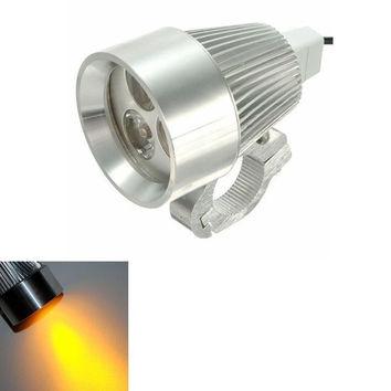 12V 15W Motorcycle Car Bicycles LED Day Spotlight Yellow Light