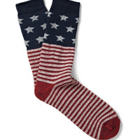 Anonymous Ism - Stars and Stripes-Patterned Cotton-Blend Socks   MR PORTER