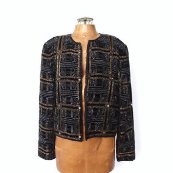 Vintage Silk Beaded Jacket Beaded Cardigan Gypsy rocker 1980s 90s  Cropped Blazer Art Deco Beaded Dress Cover Black Gold Silver Blazer
