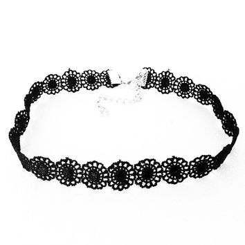 SUSENSTONE New Fashion choker Vintage Black Lace Sunflower Tattoo Gothic Necklace Choker necklaces Jewelry Gift Collares Mujer