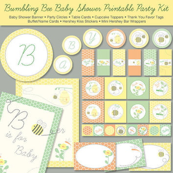Bumble Bee Baby Shower Printable Party Kit  by ThumbAlinaLane