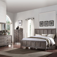 Acme 23890Q 5 pc Bayonne burnt oak finish wood panel look queen bedroom set