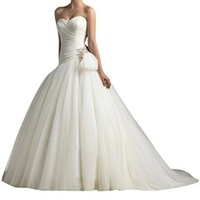 Lttdress Women's Sweetheart Lace-up Wedding Dresses Bridal Gowns White