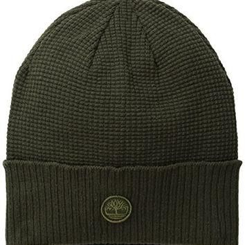 Timberland Men's Waffle Knit Watch Cap with Ribbed Cuff, Forest Night, One Size