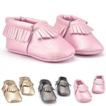 Tassels 3 Color PU Leather Baby Shoes Moccasin Newborn Shoes Soft Infants Crib Shoes Sneakers First Walker