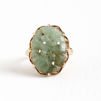 Vintage 10k Rosy Yellow Gold Carved Jadeite Gem Ring - Size 9 Retro 1950s Oval Green Genuine Jade Gemstone Flower Design Statement Jewelry